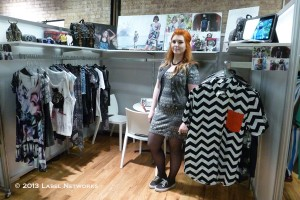 Disturbia came all the way from just outside of London. Their frocket pockets in punk rock colors and women's collection especially cool leggings were popular.