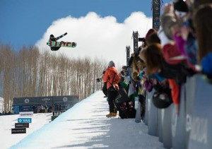 Kelly Clark claims biggest air for her gold-winning run at the Burton US Open of Snowboarding. Photo by Blotto.