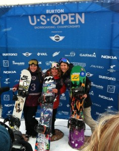 Women's slopestyle winners at the Burton US Open. Jaime Anderson claims her 4th gold coming off an Olympic gold medal in Sochi. Photo by Snowboard.