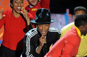Pharrell Williams performs Happy at the Oscars.