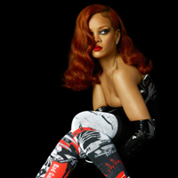 Rihanna in over-the-knee socks she designed for Stance as its ne