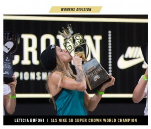 Brazilian Leticia Bufoni wins first-ever Women's SLS Nike SB Super Crown World Championship. Photo by Street League Skateboarding.