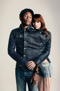 Pharrell Williams tucked into his G-Star collection made with Bionic Yarn.